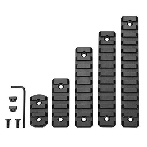 5pcs Aluminium M-Lok Picatinny Schiene, 3-Slot 5-Slot 9-Slot 11-Slot 13-Slot Leichter Picatinny Schienenteil für M-LOK Kompatibles System mit 10 T-Muttern, 10 Schrauben und 1 Inbusschlüssel