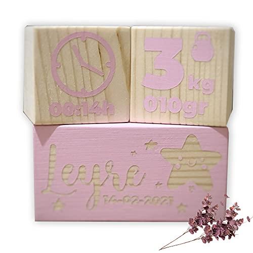 Regalo para bebé recién nacido, detalles creativos, regalo original y único, diseñado y producido en España, bloques natalicio de madera, canastilla