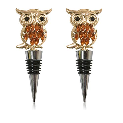 Adonisaon Owl Wine Stoppers Cute Wine Stopper Decorations Metal Zinc Alloy Wine...