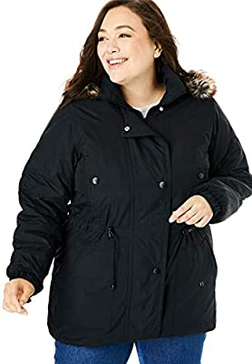 Woman Within Women's Plus Size Quilt-Lined Taslon Anorak - 3X, Black by Woman Within