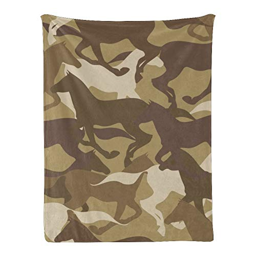 Qearl Camouflage Horse Silhouette Baby Blanket Super Soft for Boys Girls, Throw Blanket Super Soft for Crib,Outdoor,Indoor 30x40 Inches