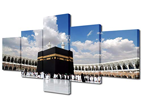 Islamic Religion Modern Mosque Square Canvas Prints Pictures Paintings on Canvas Wall Art for Home Decor 5 Panels Gallery Wrapped Muslim Pilgrimage Festival Giclee Artwork(50'W x 24'H)