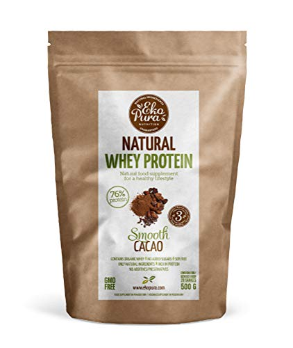 Natural Whey Protein - Cacao - 76% Protein, Organic Whey from Grass Fed Cows - Free of Nasties - 500g