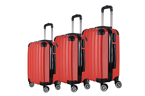 3-Piece Hardside Spinner Expandable Suitcase Set #1331 Red