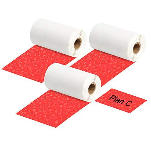 Festnight 3 Rollos de papel térmico autoadhesivo negro sobr