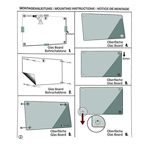 Glasmagnettafel in reinem Weiß   rahmenloses Magnetboard   Whiteboard aus TÜV-zertifiziertem Glas magnetisch & beschreibbar   einfache Montage mit Bohrschablone   7 Größen (120x180 cm) - 6