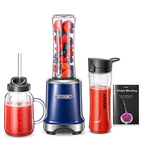 AICOOK Smoothie Maker Mixer, Standmixer Elektrischer 300W Blender mit Mason Cup &600ml Reiseflasche und Deckel, Mini Mixer für Schüttelt, Smoothies, Babynahrung, BPA frei, Kobaltblau
