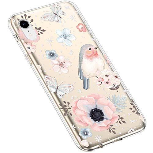 Uposao Kompatibel mit iPhone XR Hülle Blumen Muster Transparent TPU Silikon Handyhülle Ultradünn Durchsichtige Schutzhülle Crystal Clear Case Handytasche,Schmetterling
