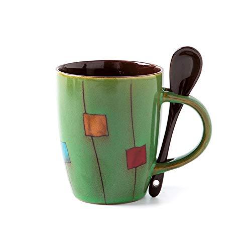 FEIYIYANG Tazas Arte Pintado A Mano Copa De Cerámica Retro Personalidad Tendencia Oficina Taza Pareja Simple Leche Taza Café Bebida Taza Copa De Agua Hogar con Cuchara Taza (Color : Green)