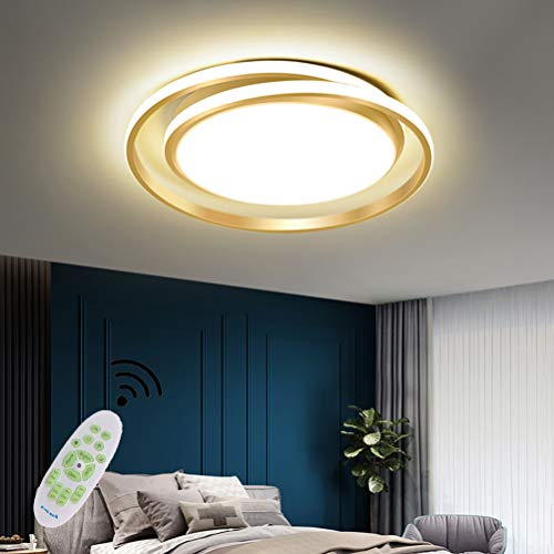 Lámpara LED de techo salón moderna regulable dorada redonda de diseño lámpara de dormitorio lámpara de mesa de comedor con mando a distancia lámpara colgante para interior cocina pasillo baño decor