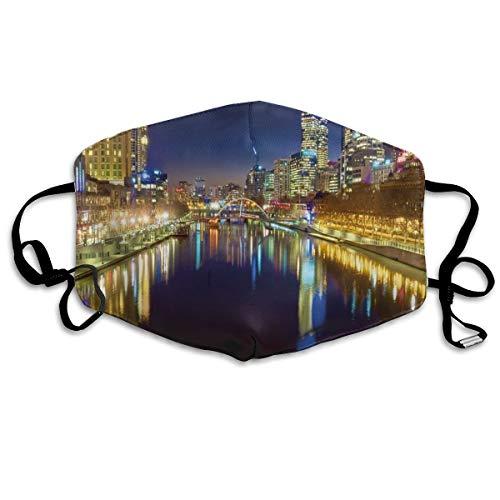 Op zoek naar De Yarra River Op Een Mooie Nacht In Melbourne Water ReflectionPrinting Veiligheid Mond Cover voor Volwassen