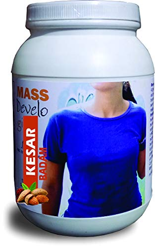 Develo Weight Mass Gainer Protein Shake Powder for Fast Gain in women girls, Nutrition Food Supplement, Health Drink with Natural Fat Energy I 27 Vitamins & Minerals I – 1 kg (Kesar Badam)