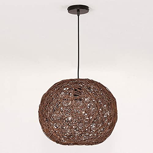 KAIKEA Bruine bol E27 geweven gras wijnstok hanglamp, natuurlijke eenvoudige handgeweven hanglamp, creatieve boerderij hanglamp rotan kroonluchter hanglamp voor eetkamer slaapkamer (13.7inches)