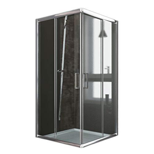 Cabine de douche carrée 90 x 90 cm H 185 cm Transparent 6 mm