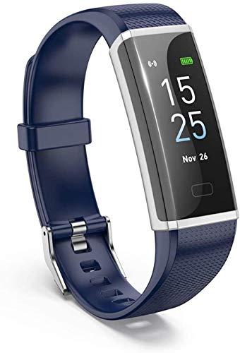 Pantalla de color de alta definición pulsera inteligente 0.96 pulgadas monitoreo del sueño IP68 dispositivo portátil impermeable Bluetooth podómetro-azul