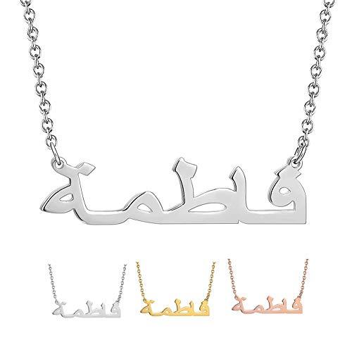 XiXi Collar Personalizado con Nombre Árabe Grabado Colgante Plata de Ley Regalo para Fmailia Madre Novia Mujer Amiga (Plata)