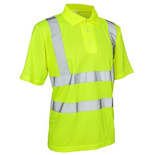 Warnshirt Warnschutz Polo-Shirt T-Shirt Hi-Viz Kurzarm gelb orange (Polo) (2XL, Gelb)
