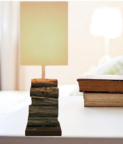Design Tischleuchte aus Treibholz, ca. 45 cm hoch, ideal als Nachttischlampe (Hell)