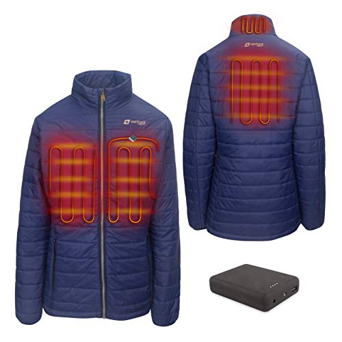 Venture Heat Women's Heated Jacket with Battery Pack - Insulated Electric Coat, Windproof, Traverse 2.0 (M, Navy)