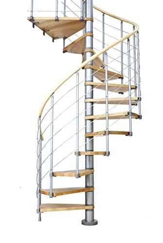 Dolle eje Escaleras Oslo │ haya lacada Planta │ Altura: 252–368cm │ Diámetro Exterior: 120cm, 140cm, 160cm │ bajo construcción polvo: Blanco O gris │ 150kg de carga