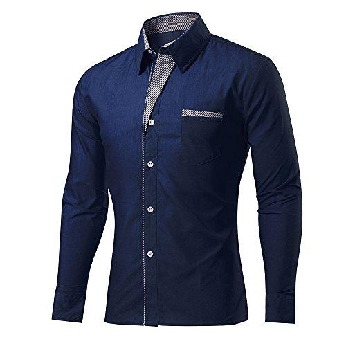 Rmine Herren Langarm Hemd Bügelleicht für Freizeit Business M-4XL (Marineblau, L)