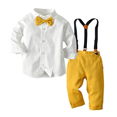 2Piece Toddler Baby Boys Gentleman Outfits Suits, Bow Tie Long Sleeve Button Up Shirts + Suspenders Pants Tuxedo Clothes Black