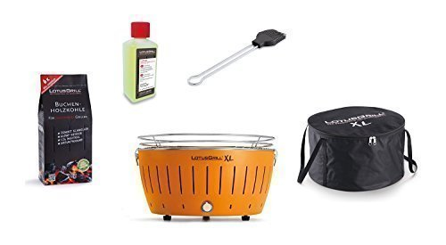 LotusGrill Barbecue XL Kit de démarrage 1x Lotus Barbecue Charbon de Bois de hêtre XL Mandarine Orange 1x 1kg, 1x Pâte à Combustible 200ml, 1x Pinceau Gris Anthracite, 1x XL Sacoche