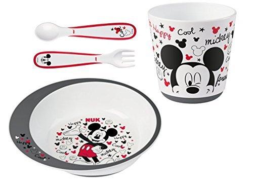NUK - Coffret Vaisselle Bébé Disney Mickey avec Assiette, Fourchette, Cuillère et Gobelet, Passe au micro-onde - Dès 9 mois