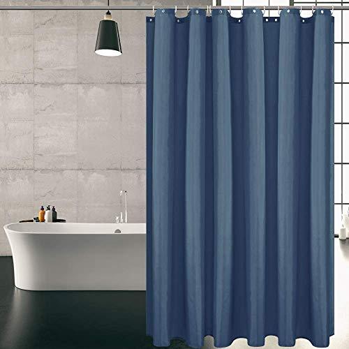 KIPIDA Duschvorhang Textil, Anti-Schimmel, Wasserdichter, Waschbar Anti-Bakteriell Stoff Polyester Badewanne Vorhang mit 8 Duschvorhängeringen, 120x180cm, Blau