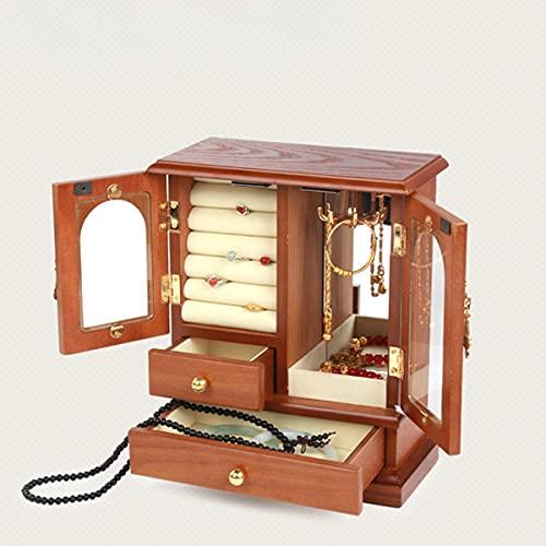 Caja Joyero para Mujer Organizador Joyas de Vintage Grande Jewelry Organizer Box Organizador de Joyas para Anillos Pendientes Pulseras y Collares Idea de Regalo ( Color : A , Size : 21.5*11*26CM )