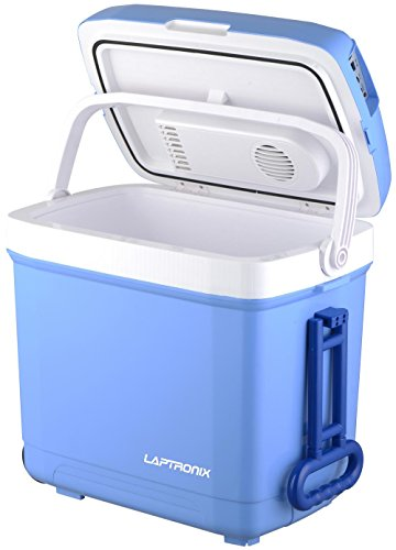 Laptronix 30L Electric Cool Box Cooler with two wheel Trolley for Drinks Food...
