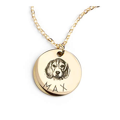 Personalized Pet Gifts Custom Pet Jewelry Dog Necklace Cat Gift Custom Portrait Unique Gift Mothers Day gift - LCN-AP (Gold)