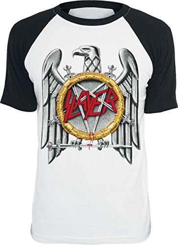 Slayer Eagle Männer T-Shirt weiß/schwarz L 100% Baumwolle Band-Merch, Bands