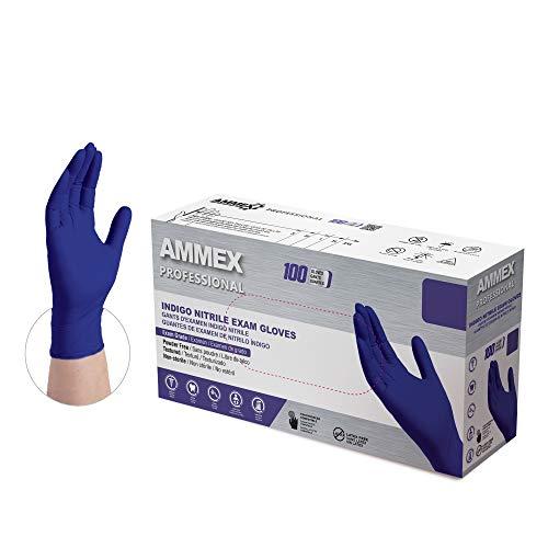 AMMEX Indigo Nitrile Exam Gloves, Box of 100, 3 Mil, Size Medium, Latex Free, Powder Free, Textured, Disposable, Non-Sterile, Food Safe, AINPF44100-BX