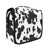 Hanging Travel Toiletry Bag Kit Makeup Case Cosmetics Organizer for Men Women Leopard (cow pattern)