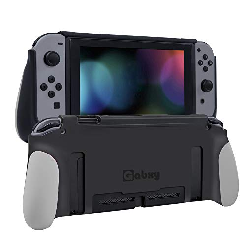 Protective Case for Switch,Dockable Cover Case for Switch,Grip Cover in Silicone with Anti-Scratch and Shock-Absorption Soft TPU(Gray)
