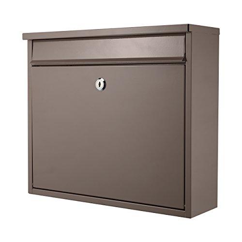 Lyndan - Grande Supporto A Parete In Acciaio Per Uso In Esterno Cassetta Delle Lettere Scatola Verticale Con Serratura Su Porta Mailbox Postale Di Blocco A4 - Grigio Caldo