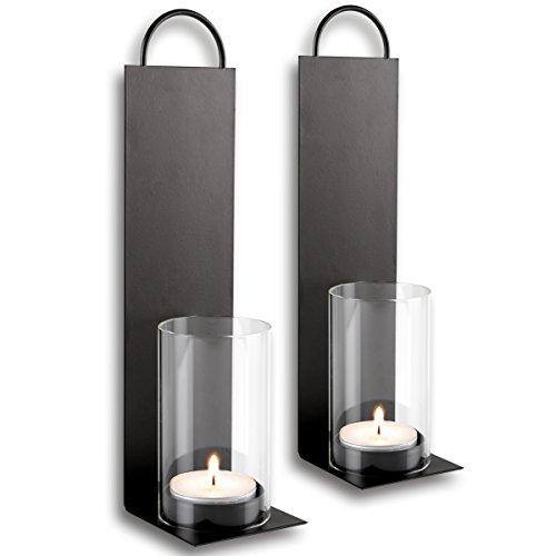 2x Wandkerzenhalter aus Metall mit Windlicht