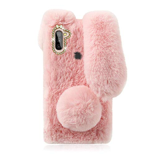 Cute Fluffy Bunny Case for Samsung Galaxy A11, Pink Furry Rabbit Fur Cover Plush Case with Ears and Fur Ball Protective Case Cute Toy Girls, Stuffed Plush Animal Phone Case for Galaxy A11