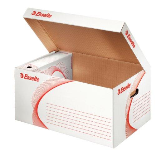 Esselte Standard-Aufbewahrungs- und Transportbox, Faltdeckel, Kapazität: 6 Boxen 80 mm oder 5 Boxen 100 mm, Weiß, 128900
