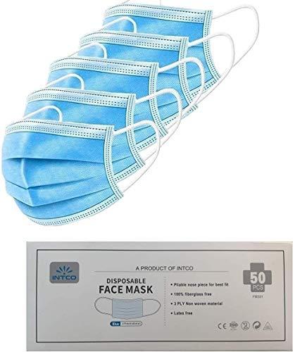 Mundschutz Maske Einweg 50x INTCO Mundschutz Einweg Masken EN14683 Typ IIR - Mund Nasen Schutzmaske, Vlies Einweg-Masken Mundschutz, Mund und Nasenschutz
