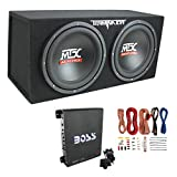 MTX TNE212D 12' 1200W Dual Loaded Car Subwoofer Enclosure w/Amplifier & Wiring