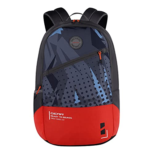 Gear Bounce 27 Ltrs Casual Backpack (Grey-Orange), One Size (BKPBOUNCE0604)