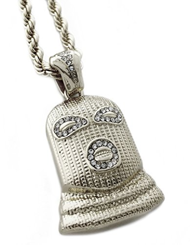 Exo Jewel Masked Thug Life Theme Pendant Necklace with 24' Rope Chain (Goon Silver)