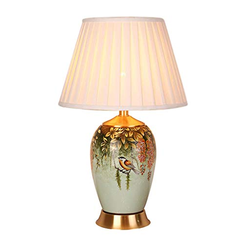 AODISHA-1 Pastorale Ceramic Table Lamp, woonkamer slaapkamer Nachtkastje Lamp decoratieve tafellamp bloemen en vogels Patroon Schemerlamp -Geef huis helder (Color : B)