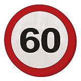 Tovaglioli con segnale stradale 60 anni - 20 pezzi