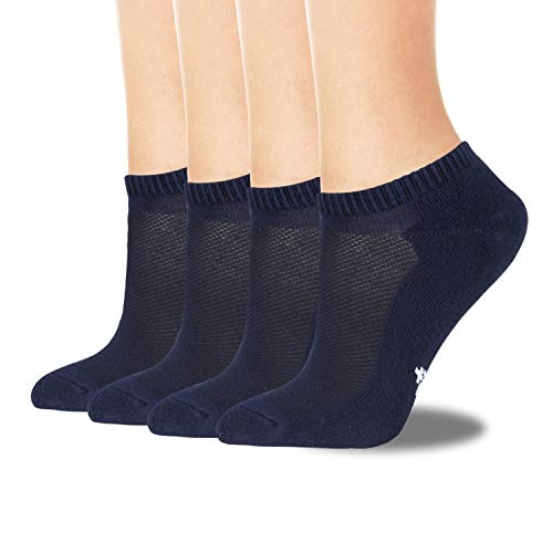 +MD Mens Breathable Bamboo Socks Moisture wicking and Odor Resistant Low Cut No Show Athletic Socks,4 Pack Navy10-13