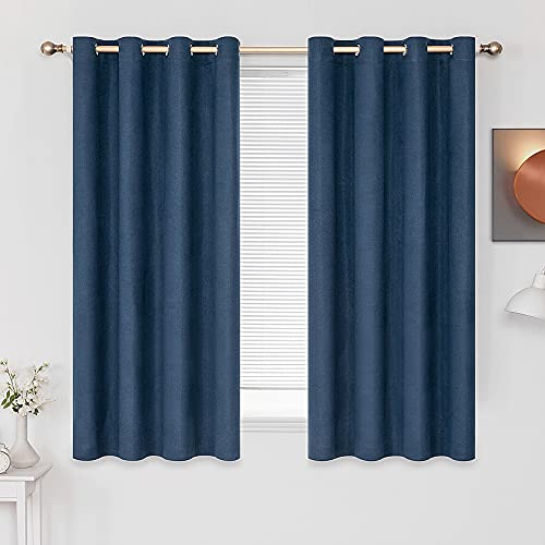 MIULEE - Cortina de lino con aislamiento térmico, 2 paneles para oscurecer la sala de estar, granja, ojales, ventana opaca, bloque de luz, para dormitorio, 132 x 152 cm, color azul marino