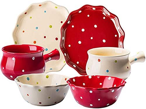 Juego de platos, Conjunto de tazón de ensalada de porcelana de 6 piezas, conjunto de vajillas de cerámica linda incluye placa de placa - lavavajillas seguro, regalo para niños niñas niños pequeños, ro