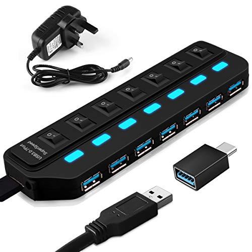 LITZEE USB Hub 3.0 Aktiv mit Netzteil, 7 Ports Superspeed USB Hub Einzelnen Power Schalter für Mac, PC, USB-Sticks und andere Geräte